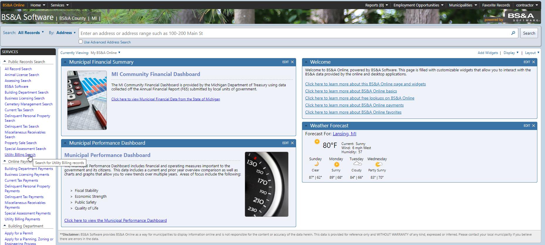 BS&A Online Services screenshot
