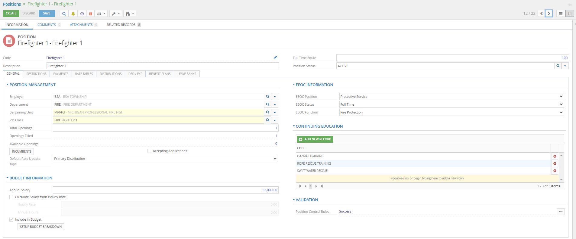 HR Positions screenshot