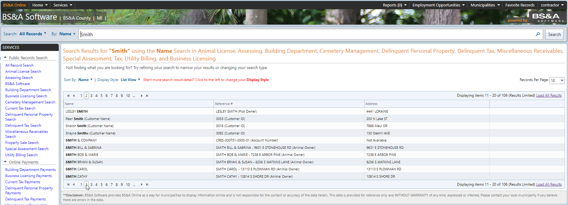 Public Records Search screenshot